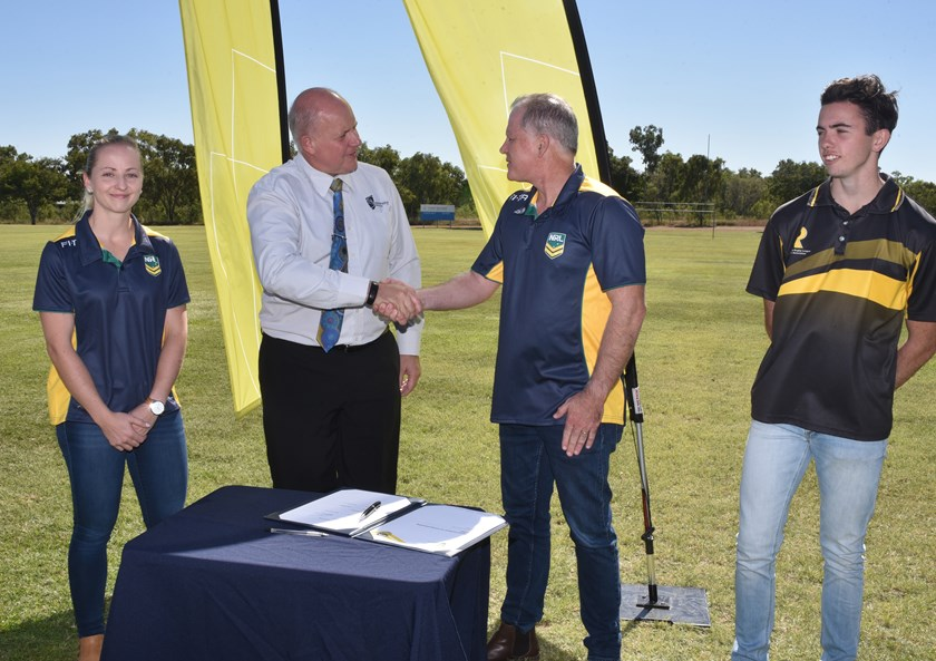 Current NRL match official Belinda Sleeman, CQUniversity Vice-Chancellor Scott Bowman, NRL General Manager, Officiating Tony Archer and Referee Development Program referee Luke Quinn were all in attendance at the launch.