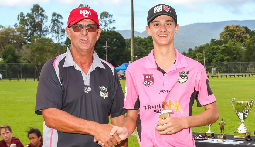Referee of the Carnival Will Brezic with Referees Jr Co-ordinator Jim Millar. Photo: Dominic Chaplin Pine Creek Pictures