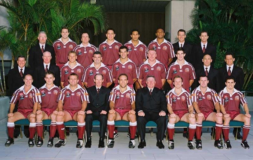Justin Hodges in his first Queensland team photo in 2002. Photo: QRL Media