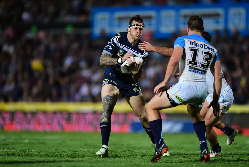 Ethan Lowe in action for the NQ Cowboys against the Titans in Round 7. Photo: NRL Images
