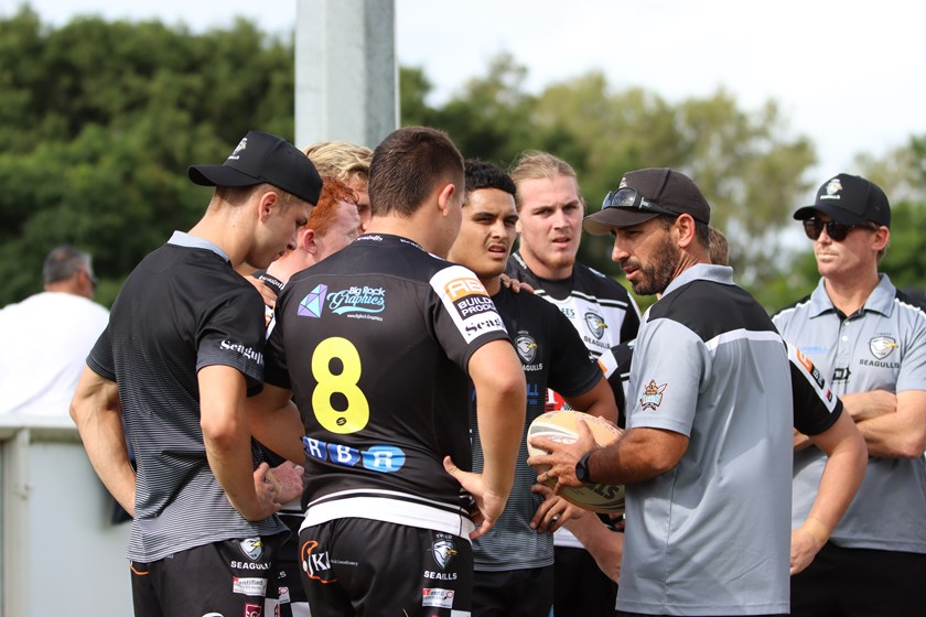 Tweed Seagulls coach Tim Maccan addresses his players. Photo: Dylan Parker Photography