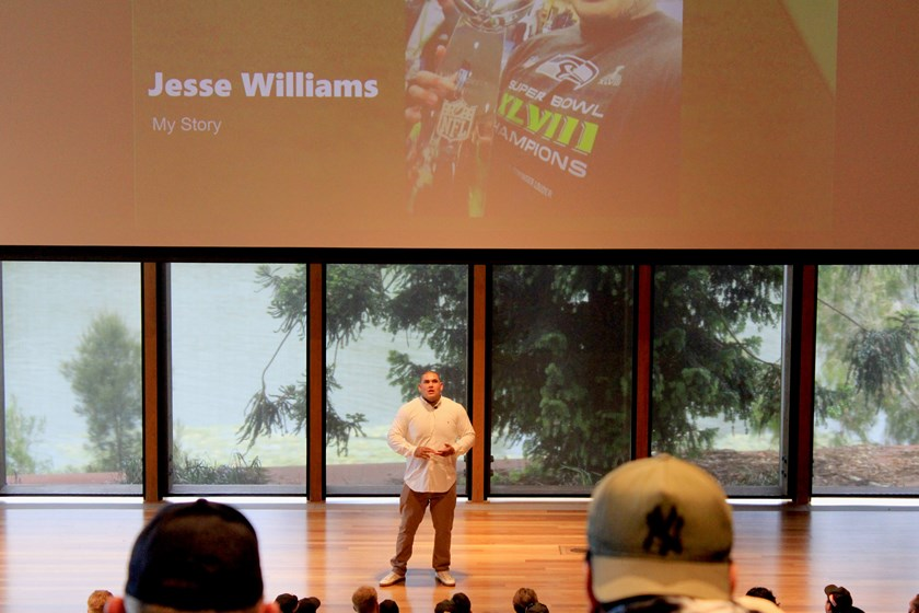 Players heard from Super Bowl winning footballer Jesse 'Tha Monstar' Williams at the 2017 SEQ Semi Pro Day. Photo: QRL Media