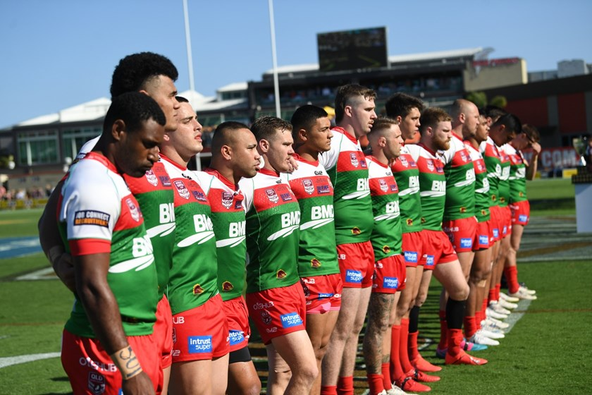 Lucky Ta'avale (second from left) lines up with the Wynnum Manly Seagulls before the 2019 Intrust Super Cup grand final. Photo: QRL Media