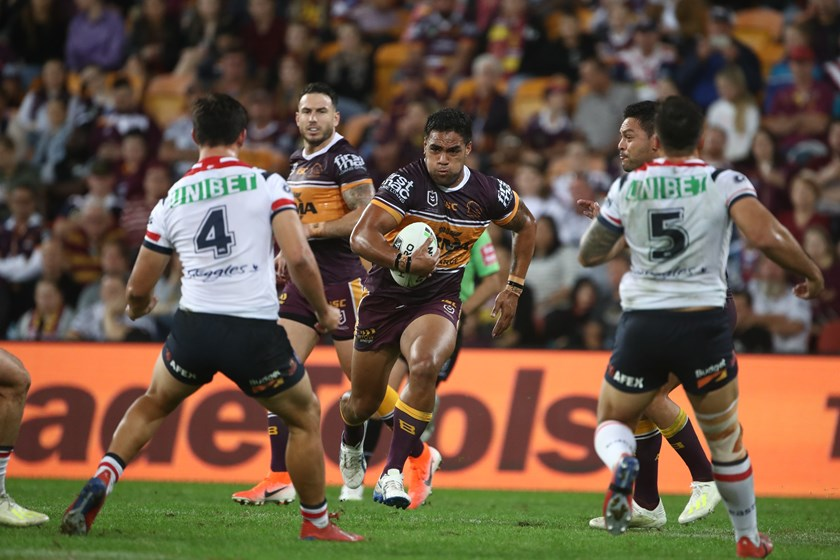 Joe Ofahengaue in action for the Brisbane Broncos. Photo: NRL Images