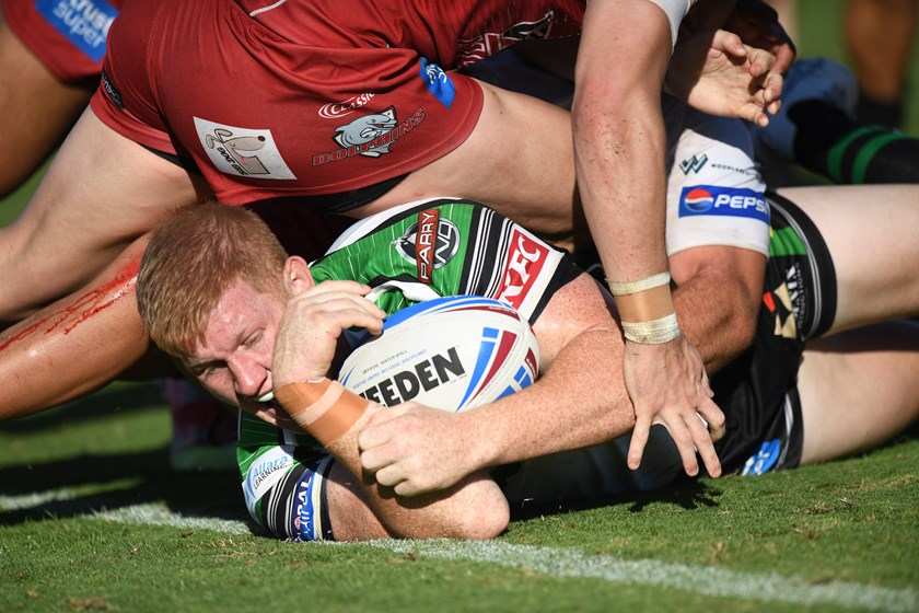 Griffin Neame found the line for his second Intrust Super Cup try. Photo: Scott Davis / QRL