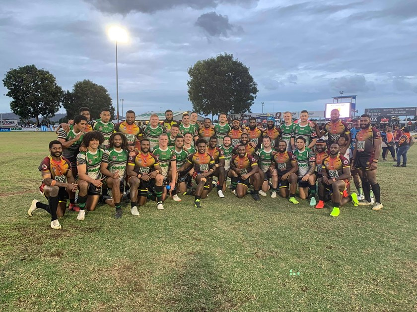 The Townsville Blackhawks and PNG Hunters. Photo: Blackhawks Media