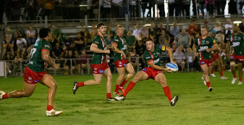 Jack Campagnolo with the ball for Wynnum Manly Seagulls. Photo: Jim O'Reilly