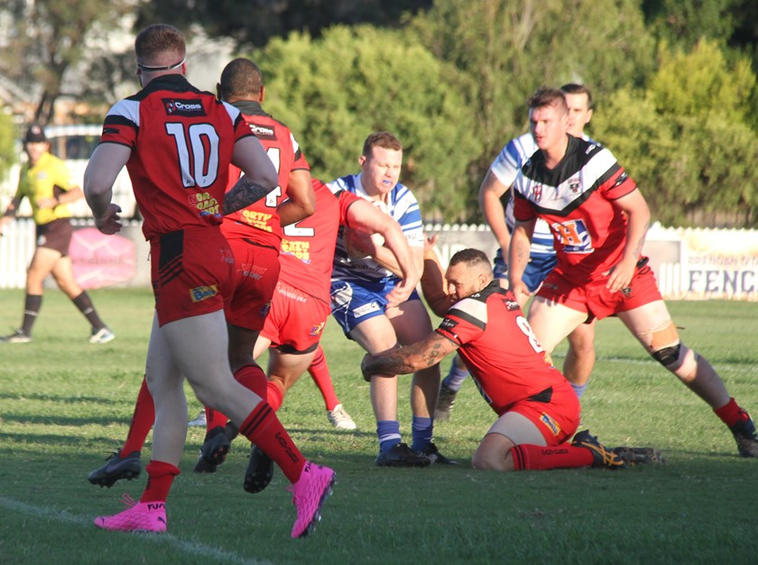 Wests Panthers hat-trick hero Dan Tanner shows his copybook defence in a tackle on Brothers' Tyla Hodge in their Bundaberg A Grade first round clash on Saturday.