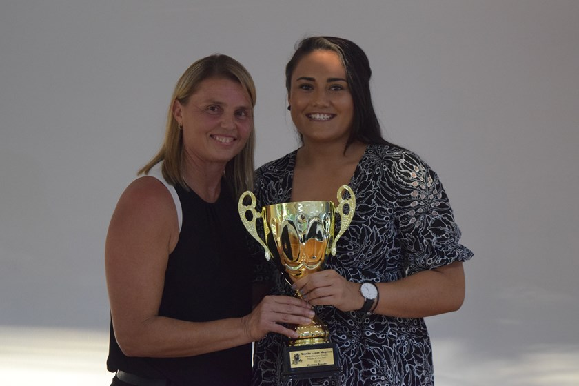 Annette Brander (who also played NRLW for the Dragons in 2018) was presented her Souths Logan Women's Player of the Year award by Karyn Murphy. Photo: QRL Media