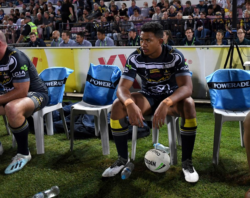 Peter Hola on the bench. Photo: NRL Images
