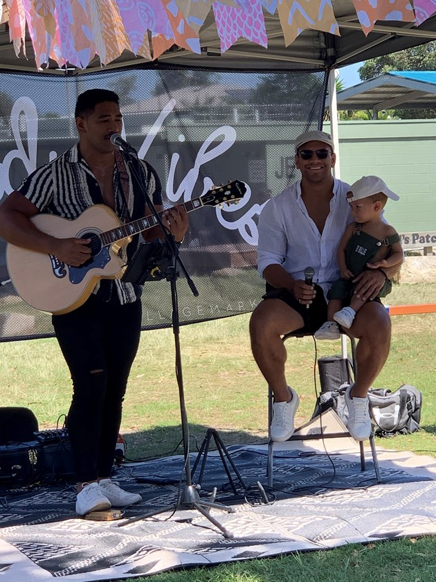 Performing some music at The Village Markets. Photo: supplied