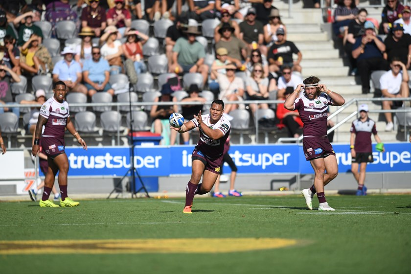 Pat Politoni passes the ball during the 2019 Intrust Super Cup grand final against Wynnum Manly Seagulls at Dolphin Stadium. Photo: QRL