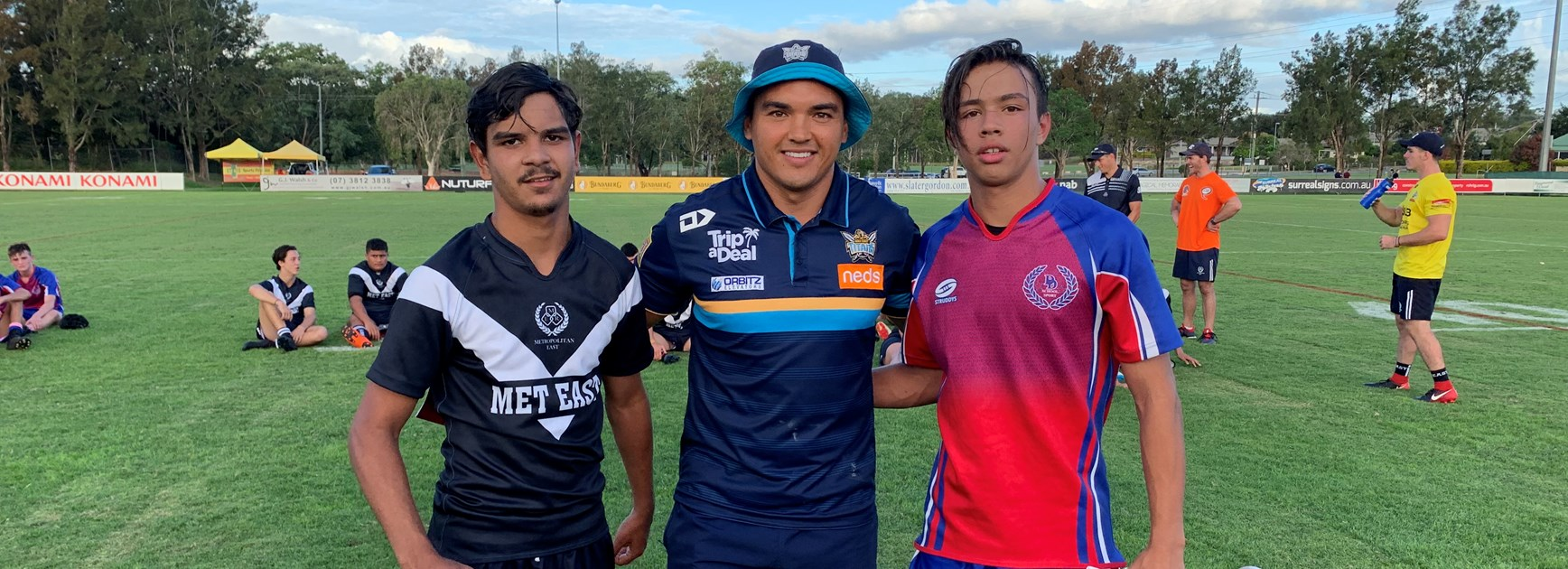 Matt Srama (former Met West player) presents player of the match awards on behalf of the Titans in the exciting Met East victory over last year's champions Darling Downs to Rodney McGinness (Marsden SHS) and Trae Bennetto (Goondiwindi SHS).  Photo: supplied