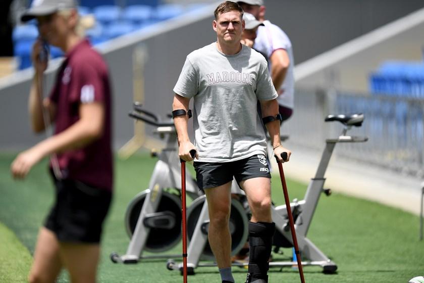 Brimson after injuring his foot during Origin Game I. Photo: Scott Davis/QRL