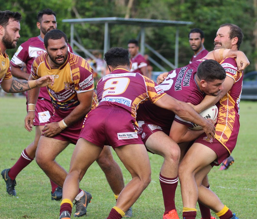 Yarrabah's Jack Webster is sandwiched between the Southern Suburbs defence.