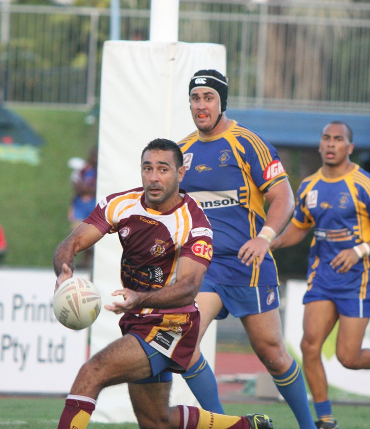 Steven Singleton when he was playing for Suburbs in Cairns District Rugby League 2013 grand final against Kangaroos at Barlow Park which saw Kangaroos claim the premiership. Photo: Maria Girgenti