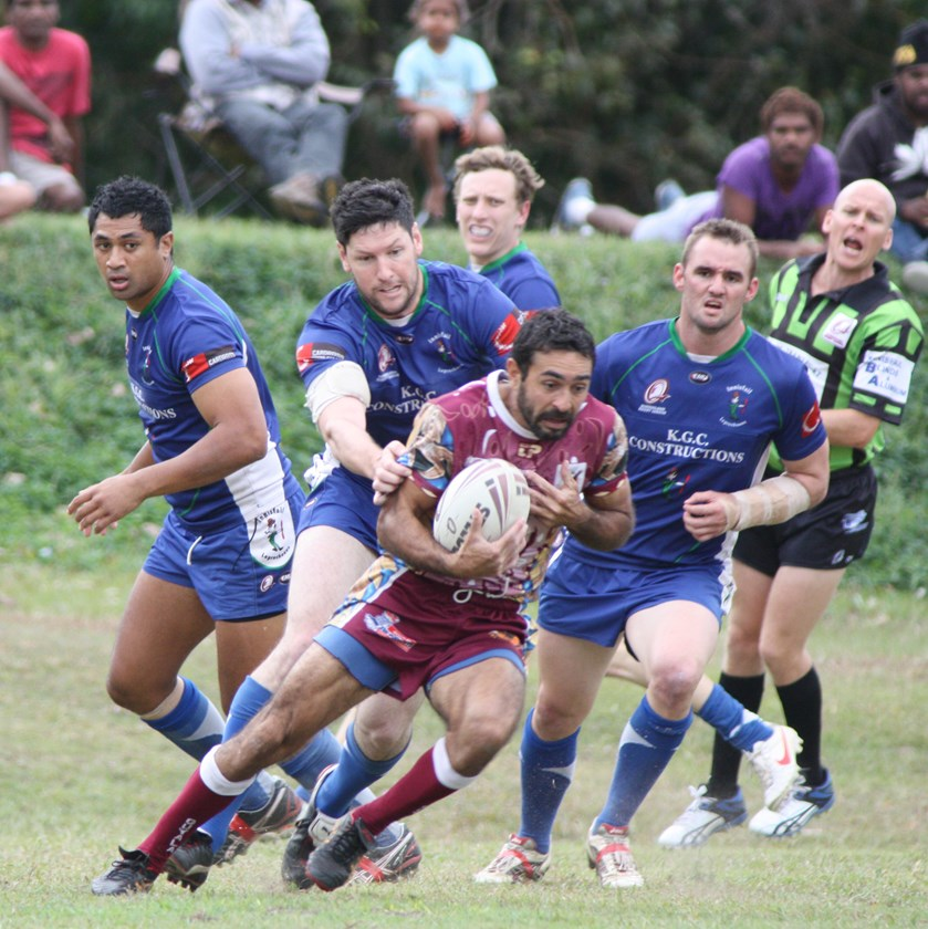Steven Singleton playing for Yarrabah in 2012 against Innisfail at Jilara Oval. Photo: Maria Girgenti