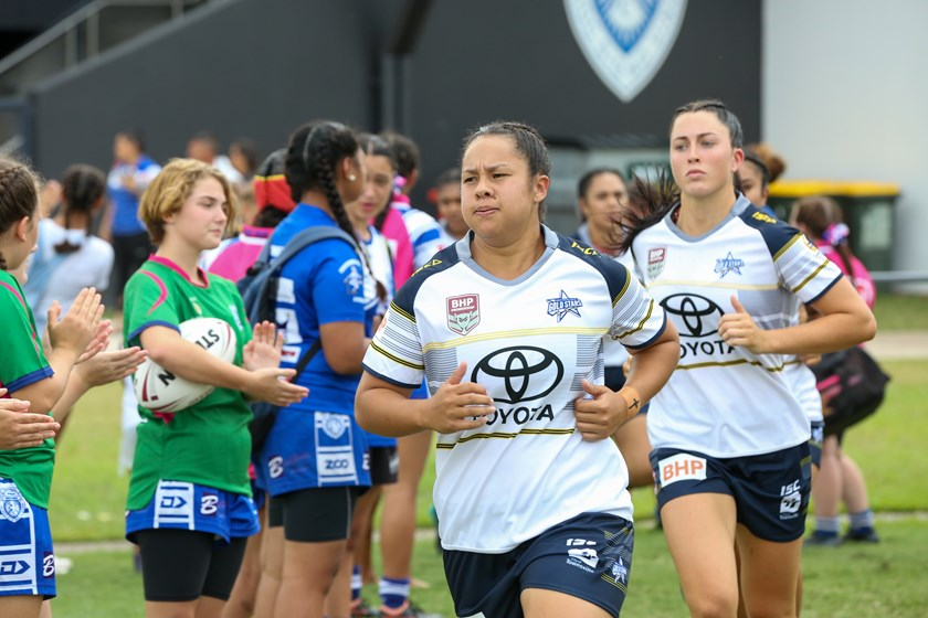 Jenni-Sue Hoepper leads the North Queensland Gold Stars out in Round 1, 2020. Photo: Jorja Brinums/QRL