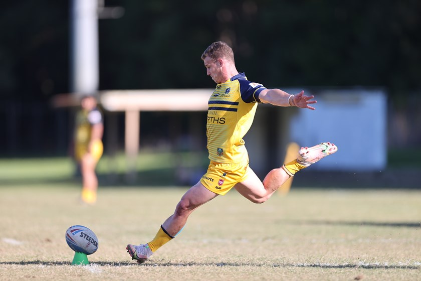 Jack Miers strikes the conversion attempt. Photo: Alan Drinnen