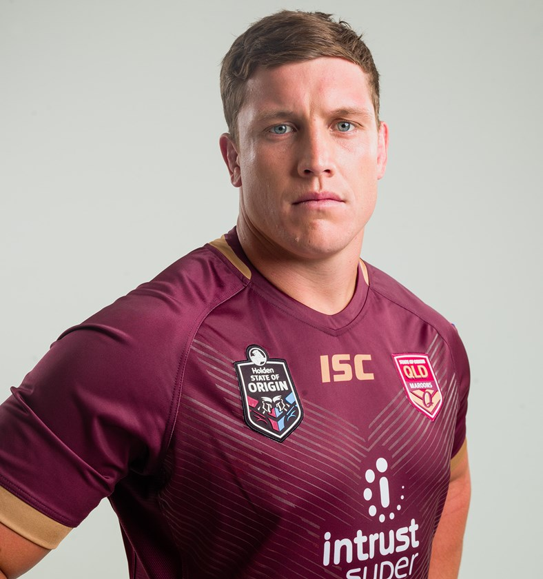 Jarrod Wallace sports the 2018 Queensland Maroons State of Origin jersey.