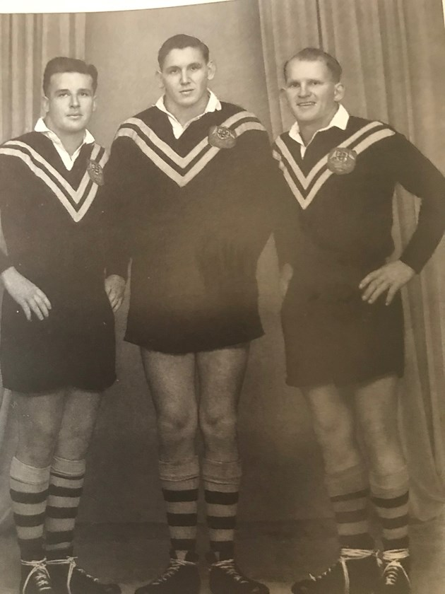 Noel Kelly, Dud Beattie and Gary Parcell, Australia's front row against France in 1960. Photo: supplied