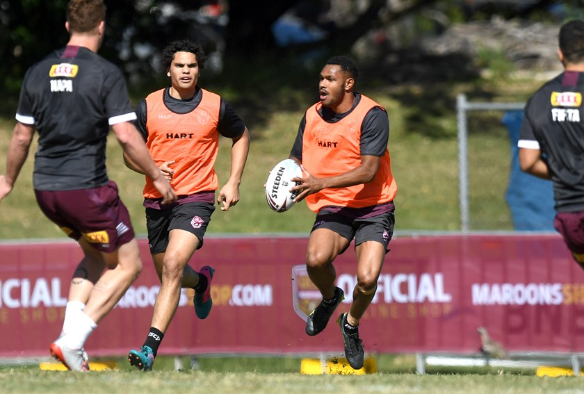 Hamiso Tabuai–Fidow during Queensland Under 18 training. Photo: QRL Media