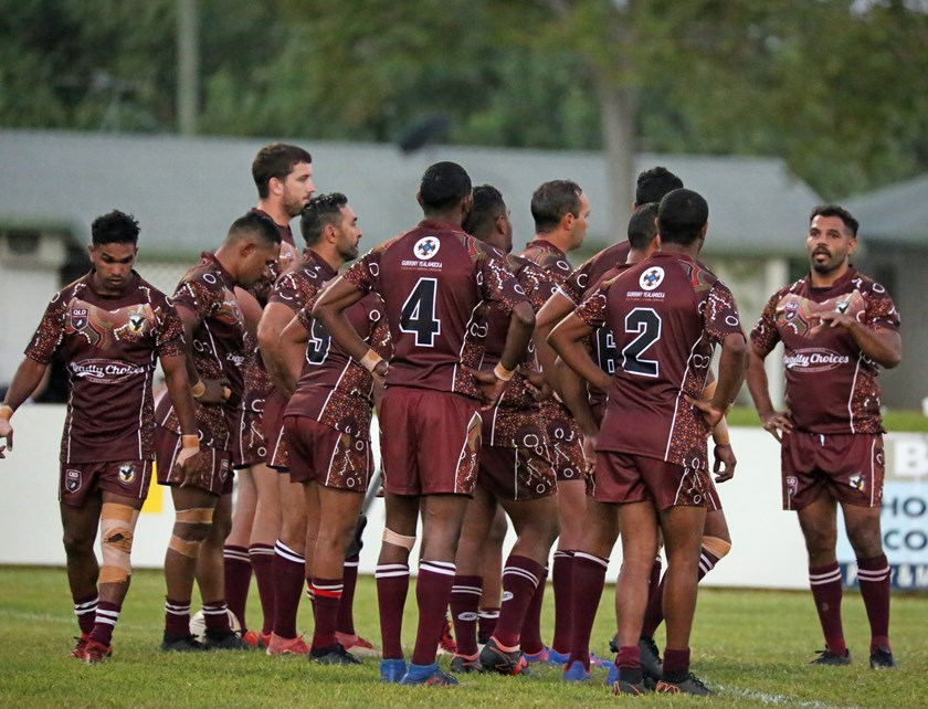 Yarrabah Seahawks captain Milton Mossman speaks to his troops during a break in play. Photo: Maria Girgenti
