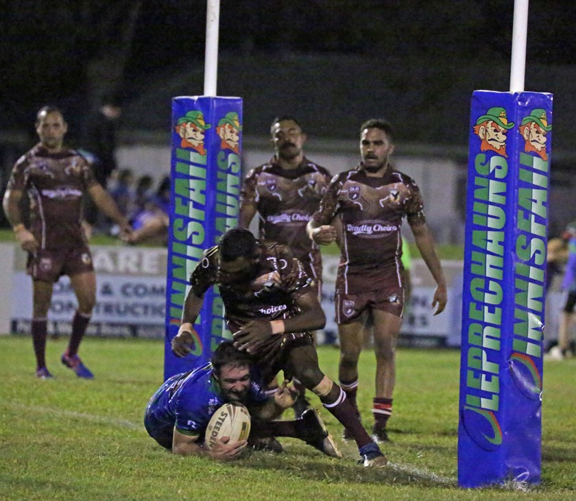 Luke Horsford proved too strong for Yarrabah and crashed over for Innisfail's second try. Photo: Maria Girgenti