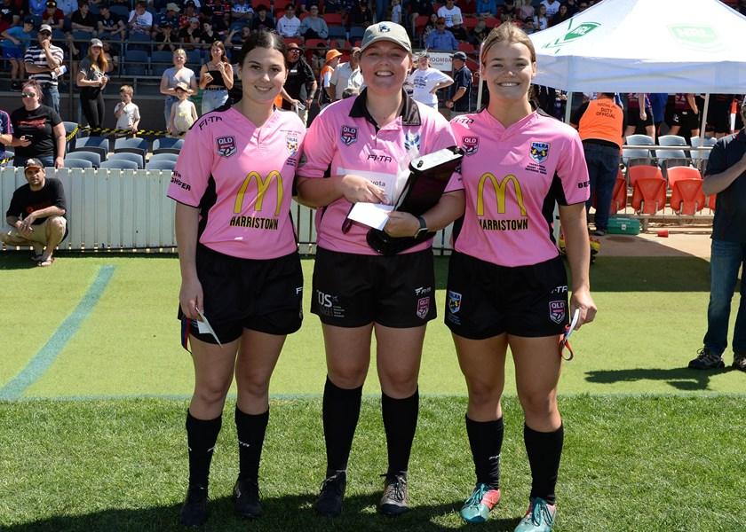 Toowoomba Junior Rugby League Grand Finals Under 15 Girls grand final match officials Jayde Rolph, Brenna Prendergast and Mackenzie Zeller. Photo: JD Sporting Photography