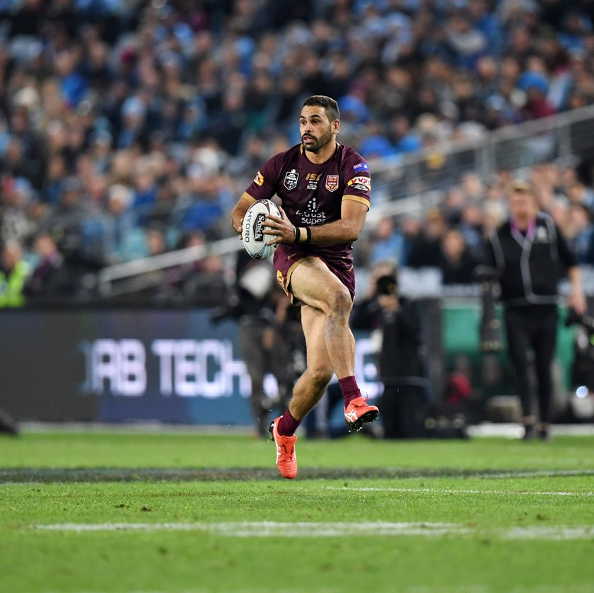 Greg Inglis in action for the Maroons in 2018. Photo: QRL Media
