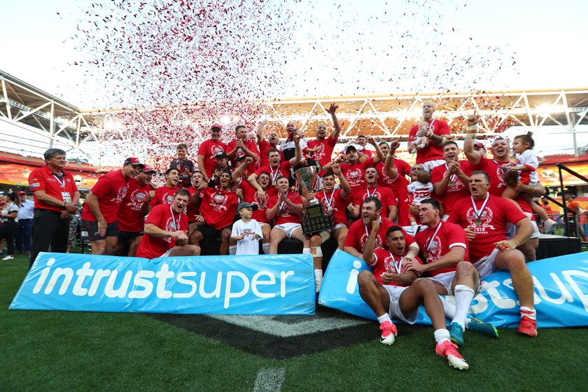 Redcliffe Dolphins celebrating after winning the 2018 grand final at Suncorp Stadium. Photo: QRL Images