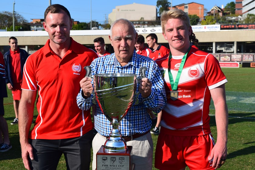 Palm Beach Currumbin coach Aaron Zimmerle with team captain Tom Dearden and Phil Hall. Photo: QRL Media