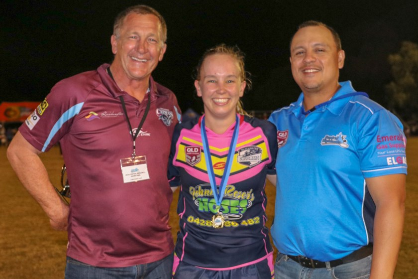 Allied Pickfords player of the final Brooke Slatter with Queensland Country Women's coach Alan McIndoe (left) and CH Women's coach Jay Denman (right).
