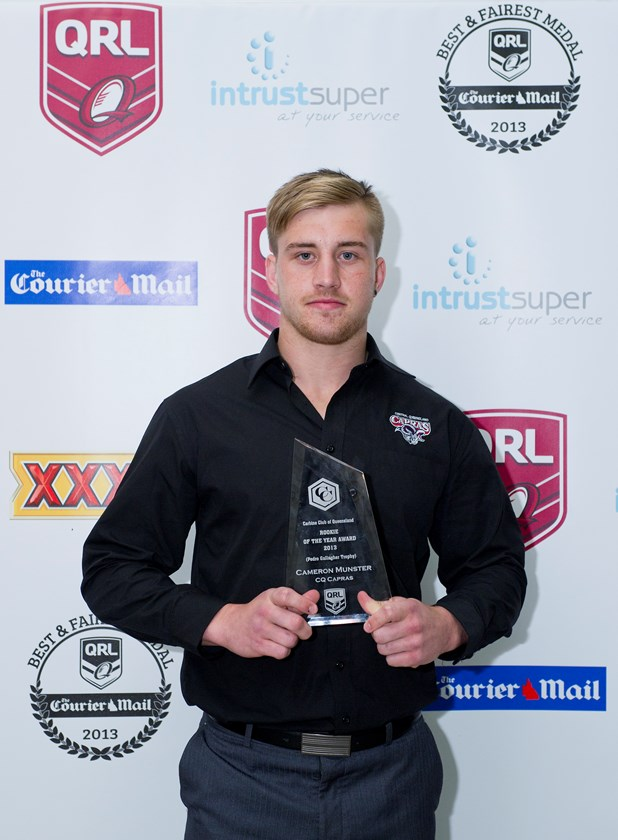 Cameron Munster with his Rookie of the Year award in 2013.