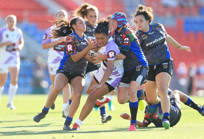Zahara Temara in action for the Women's All Stars in the their match v Indigenous All Stars in 2017.