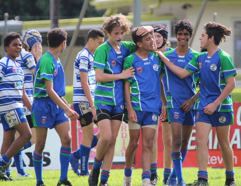 Post try celebrations for Innisfail Brothers Under 14s players. Photo: Maria Girgenti