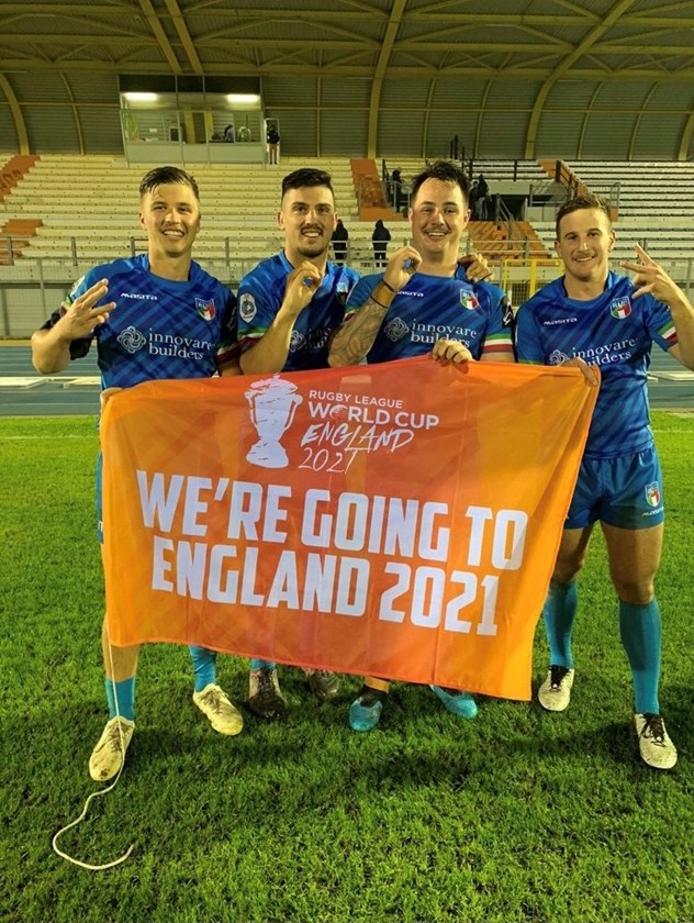 Jack Campagnolo and team mates celebrate Italy's Rugby League World Cup qualification. Photo: supplied