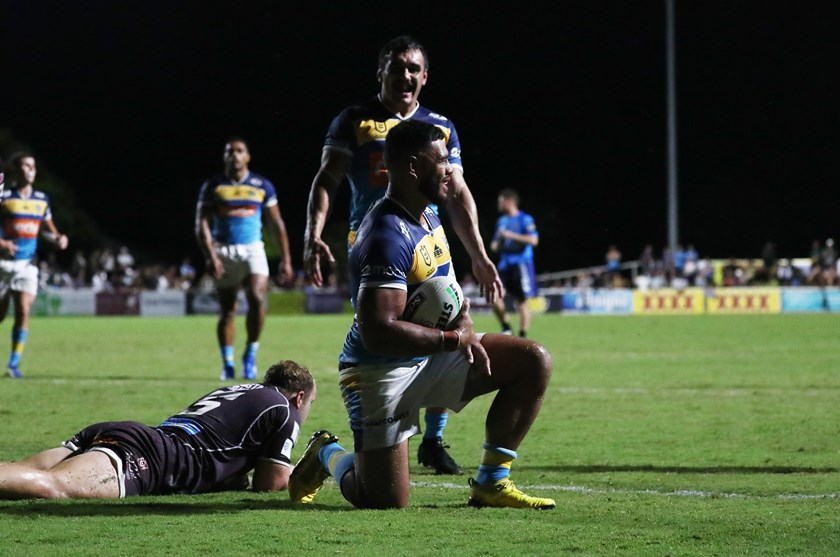 Greg Marzhew scored a hat-trick for the Gold Coast Titans. Photo: Jason O'Brien