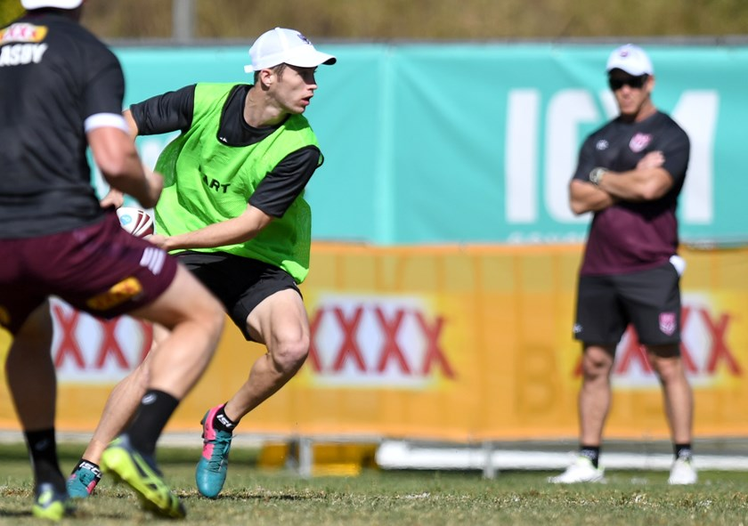 Sam Walker, for the Queensland Under 18 side, during opposed session with the Maroons. Photo: QRL Media