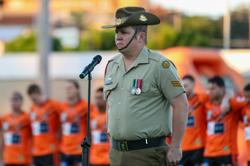 A moving pre-match Anzac service was held at Totally Workwear Stadium. Photo: Cameron Stallard/QRL