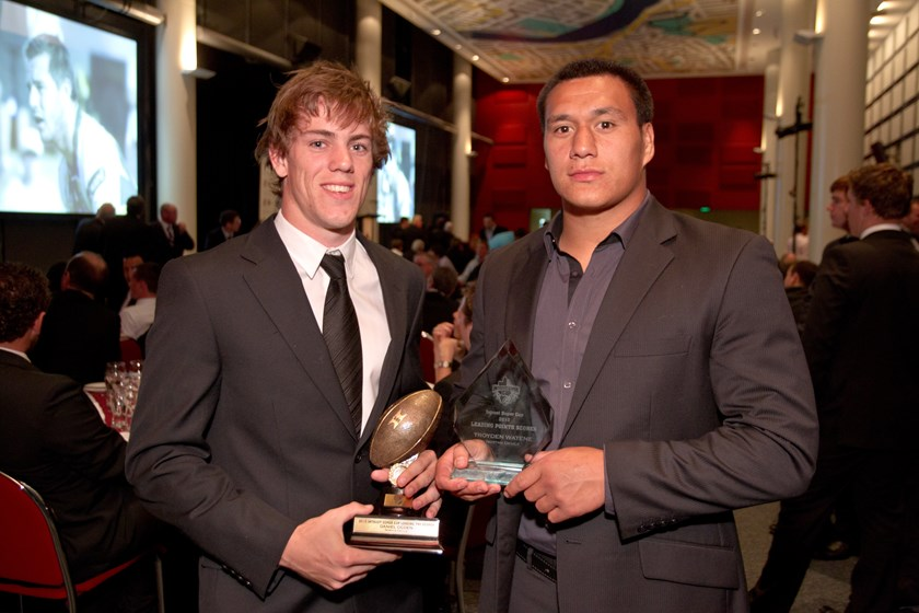 Throwback Thursday: Daniel Ogden (pictured with Troyden Watene) with his leading try scorer award in 2010. Photo: QRL archives