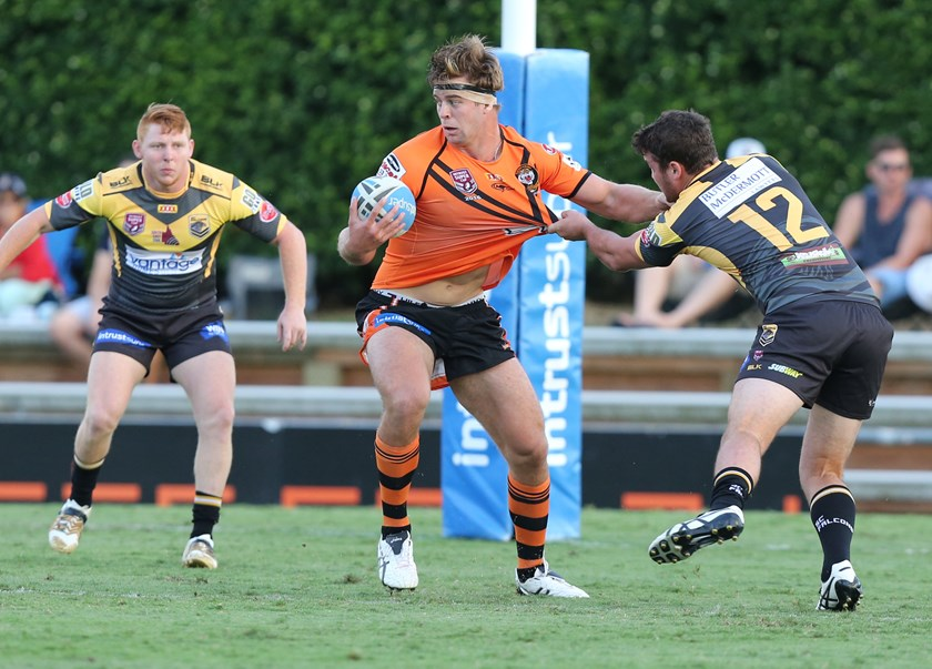 Christian Welch in action for Easts Tigers in the Intrust Super Cup in 2016. Photo: QRL Media