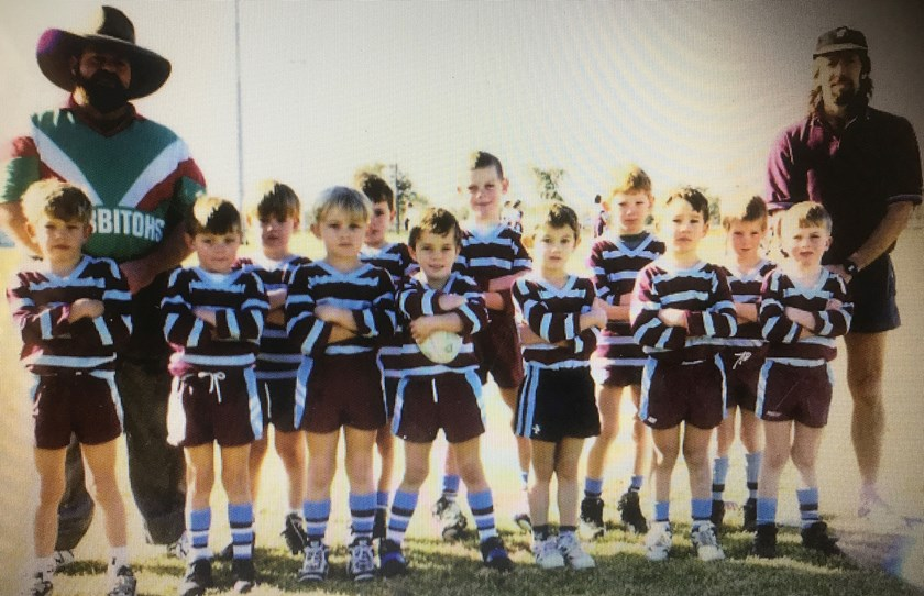 Lowe playing for the Goondiwindi Boars U7s - Ethan is in the middle of the back row.