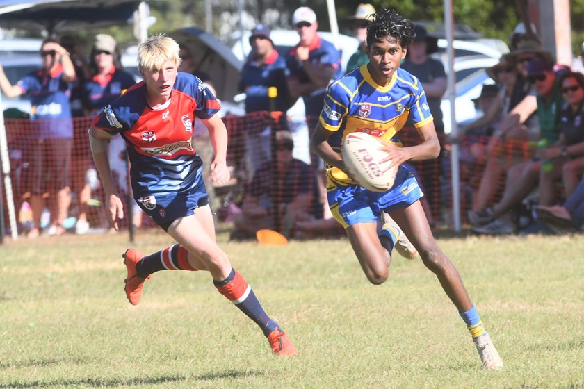 Malanda player Aiden Carson in action during the Under 16 grand final against Atherton. Photo: Darryl Day