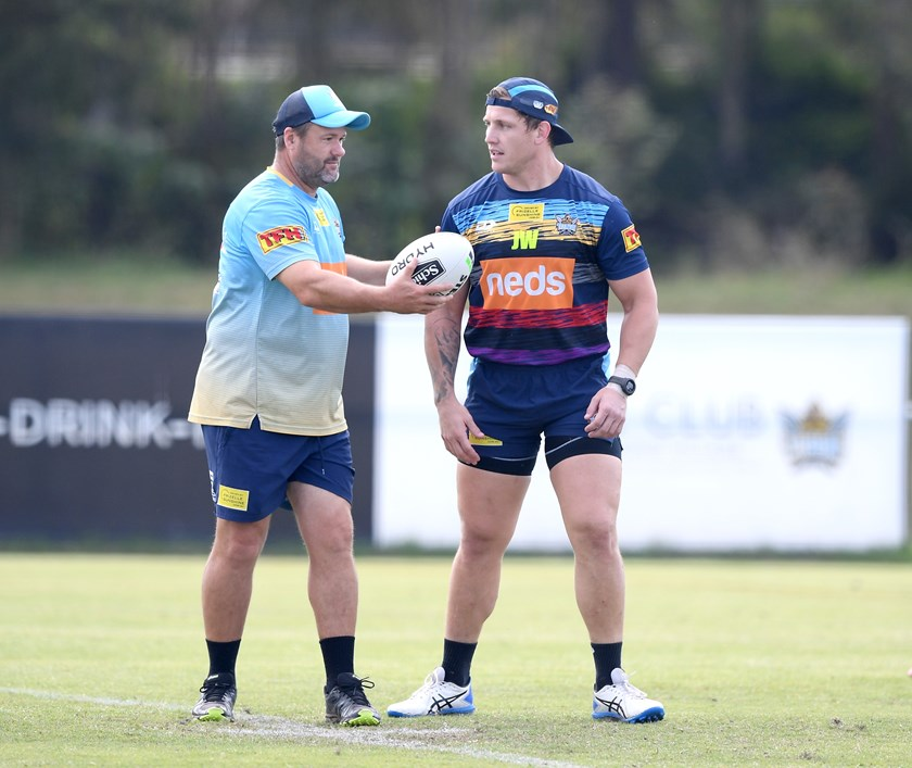 Jimmy Lenihan with Jarrod Wallace. Photo: Gold Coast Titans