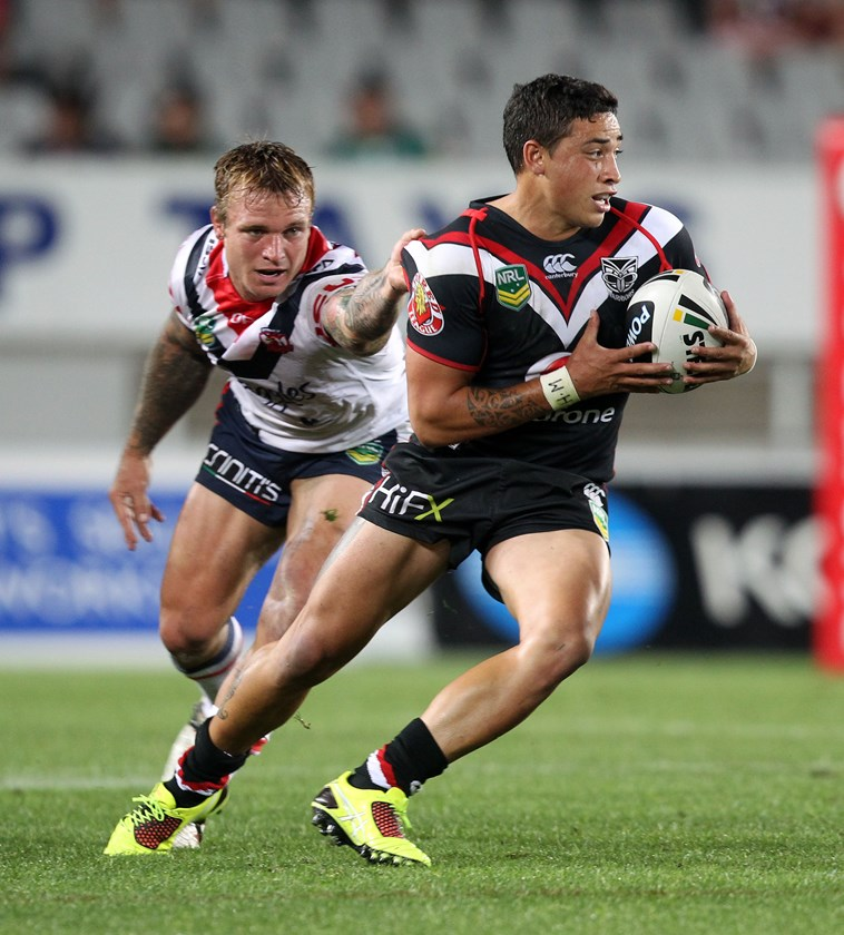 Kevin Locke in action for New Zealand Warriors in 2013. Photo: NRL Images