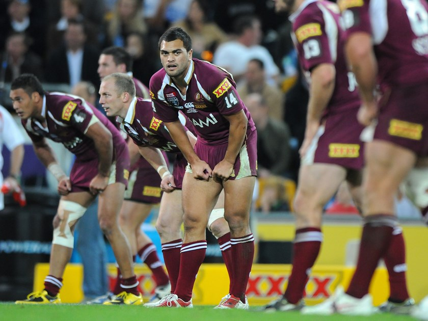 Karmichael Hunt representing the Queensland Maroons.