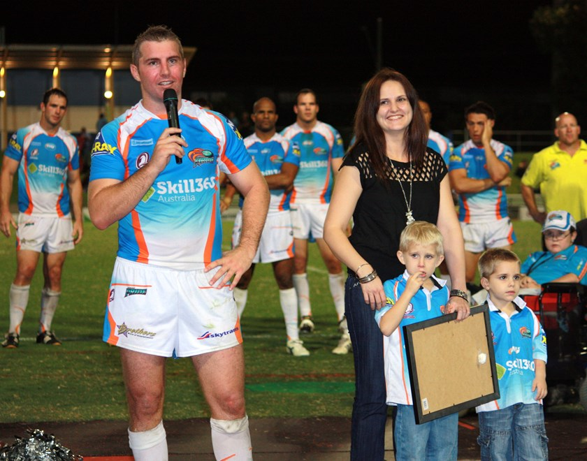 Northern Pride captain Chris Sheppard with his partner and children after his final Northern Pride home game at Barlow Park in 2010 before his retirement after the season. Photo: Maria Girgenti