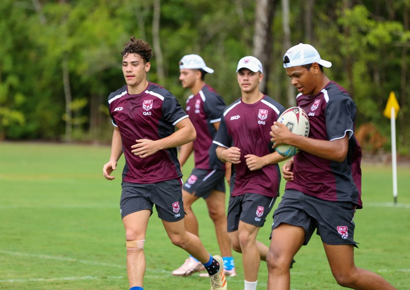 Selwyn Cobbo with the ball during the 2020 Queensland Under 18 Emerging Origin squad. Photo: Jorja Brinums / QRL