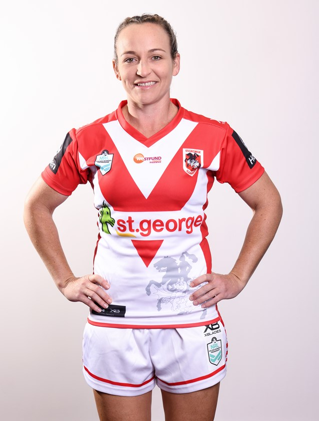 Kate in her St George Illawarra Dragons kit. Photo: Dragons Media